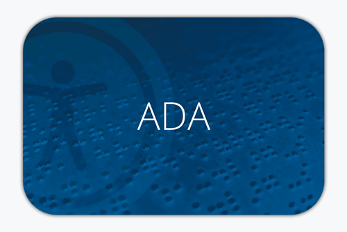 ADA written on a background with braille and accessibility icon