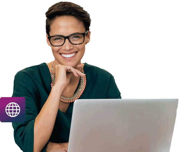 woman using laptop smiling