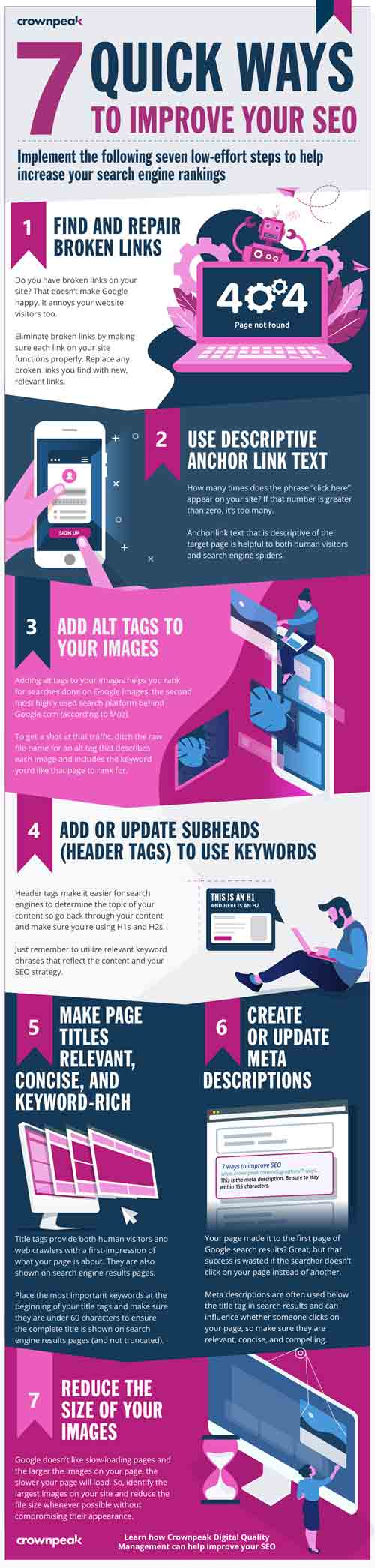 7 ways to improve SEO infographic